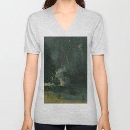 James Abbott McNeill Whistler - Nocturne in Black and Gold Unisex V-Neck
