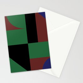 Mondrian style geometrical dark colors high resolution fine art for home decor. Stationery Cards