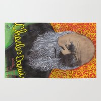 darwin Area & Throw Rugs featuring Charles Darwin by Ibbanez