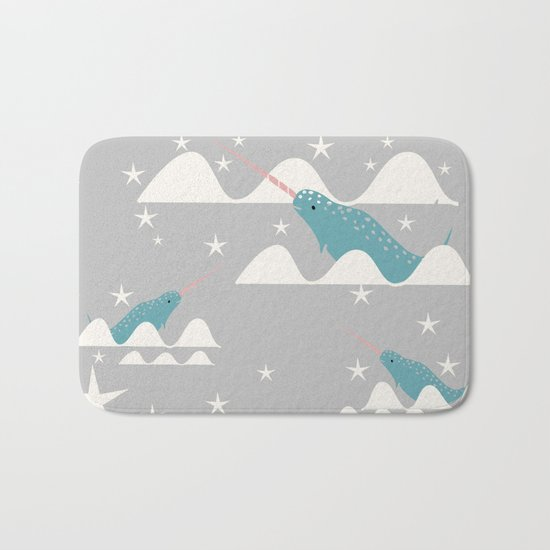 narwhal in ocean grey Bath Mat