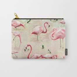 Flamingos Vintage Pink  Carry-All Pouch