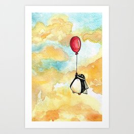Penguin and a Red Balloon Art Print