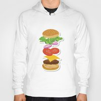 burger Hoodies featuring Burger by Daily Design