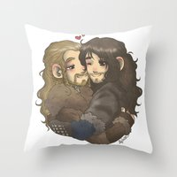 hug Throw Pillows featuring Hug by AlyTheKitten