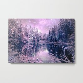 Pink Lavender Winter Wonderland : A Cold Winter's Night Metal Print