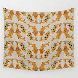 Koi Fish Pattern On Oatmeal Textured Background Wall Tapestry