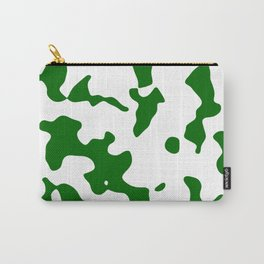 Large Spots - White and Dark Green Carry-All Pouch