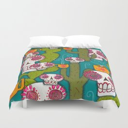 Skulls, Cacti and Atomic Coffee Duvet Cover
