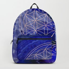 indigo agate with rose gold flower of life Backpack