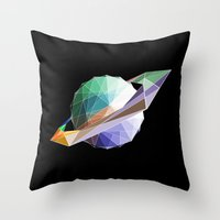 saturn Throw Pillows featuring Saturn by Tony Vazquez