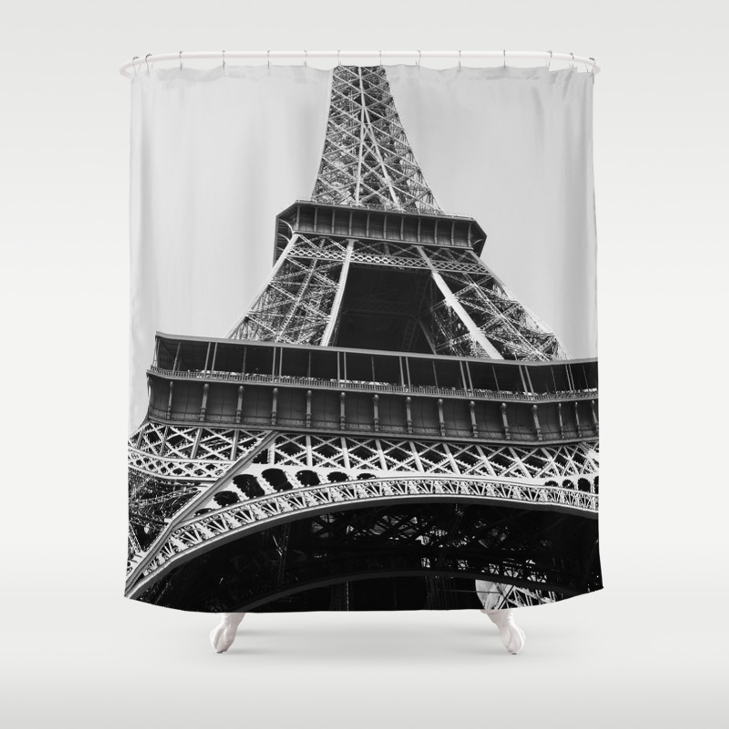 Eiffel Tower Looking Up At The World S Most Famous Monument In Paris France Classic Photograph Shower Curtain