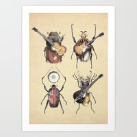 retro Art Prints featuring Meet the Beetles by Eric Fan