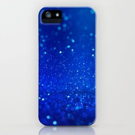 Abstract blue bokeh light background iPhone Case