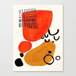 Fun Abstract Minimalist Mid Century Modern Yellow Ochre Orange Organic Shapes & Patterns Canvas Print