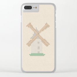 Windmill Cross Stitch Clear iPhone Case