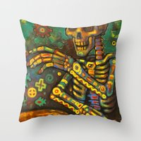 drums Throw Pillows featuring Death Drums by Sherdeb Akadan