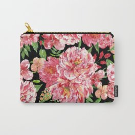 watercolor pink flowers pattern Carry-All Pouch
