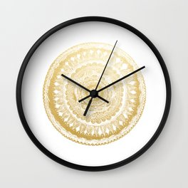 Golden Mandala Wall Clock