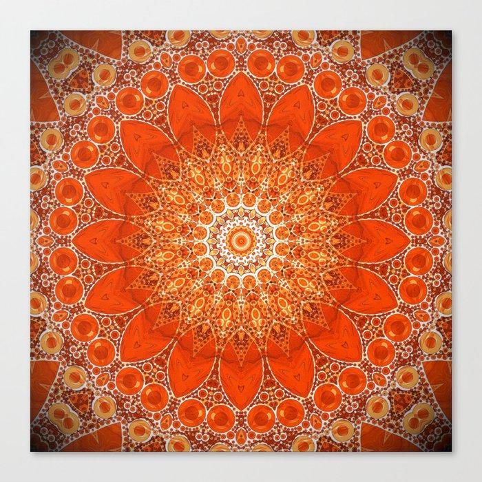 Detailed Orange Boho Mandala Leinwanddruck