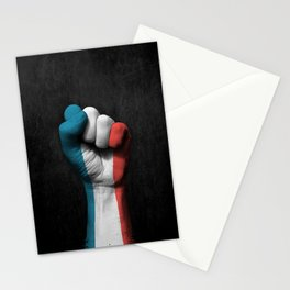 Flag of France on a Raised Clenched Fist Stationery Cards