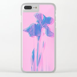 Light Blue and Blush Glitched Iris Clear iPhone Case