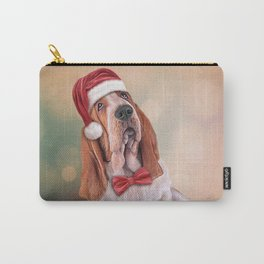 Drawing funny dog. Basset Hound in red hat of Santa Claus Carry-All Pouch