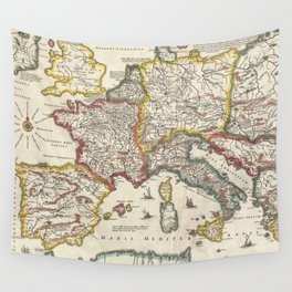 Vintage Map of Europe (1657) Wall Tapestry