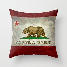 State flag of California in Grunge Throw Pillow