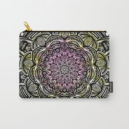 DETAILED CHARCOAL MANDALA (BLACK AND WHITE) WITH COLOR (PINK YELLOW TEAL) Carry-All Pouch