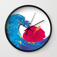 hokusai Wall Clocks featuring Hokusai Rainbow & Hibiscus_R  by FACTORIE