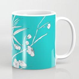 bamboo and plum flower white on blue Coffee Mug