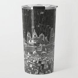 philadelphia city skyline black and white Travel Mug