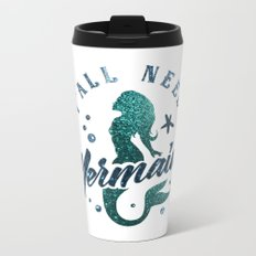 Mermaids - aqua and green glitter design Metal Travel Mug