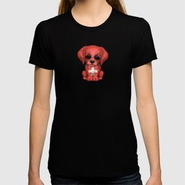 Cute Puppy Dog with flag of Switzerland T-shirt