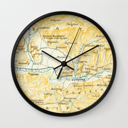 Vintage Map of Olympia Greece (1894) Wall Clock