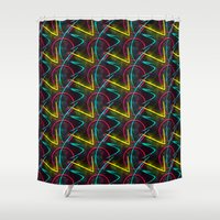 80s Shower Curtains featuring Neon 80s Pattern by Idle Amusement