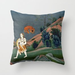 Shiva Carrying the Corpse of Sati on His Trident Throw Pillow