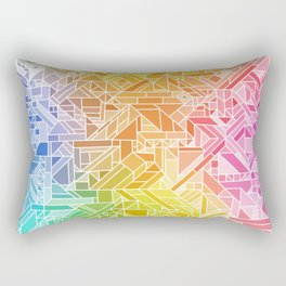 Bright Gradient (Hot Pink Orange Green Yellow Blue) Geometric Pattern Print Rectangular Pillow