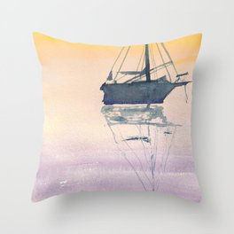 Sunrise Sailboat in the Maritmes Throw Pillow