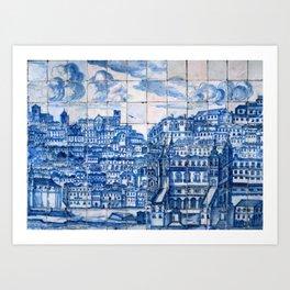 Lisbon portugal Azulejo Tile art Art Print