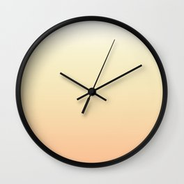 White, yellow, coral gradient, Ombre. Wall Clock
