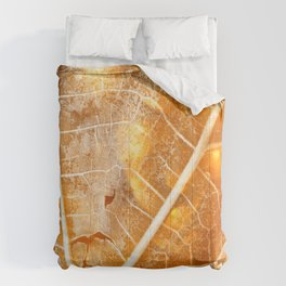 Burning Bokeh Leaf Comforters