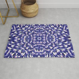 Dark Blue Symmetrical Mandala Flower - Geometric Abstract Decorative Floral Art - Boho Free Spirit Rug
