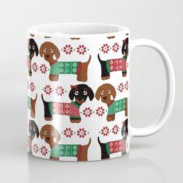 Christmas sweater dachshund pattern Coffee Mug