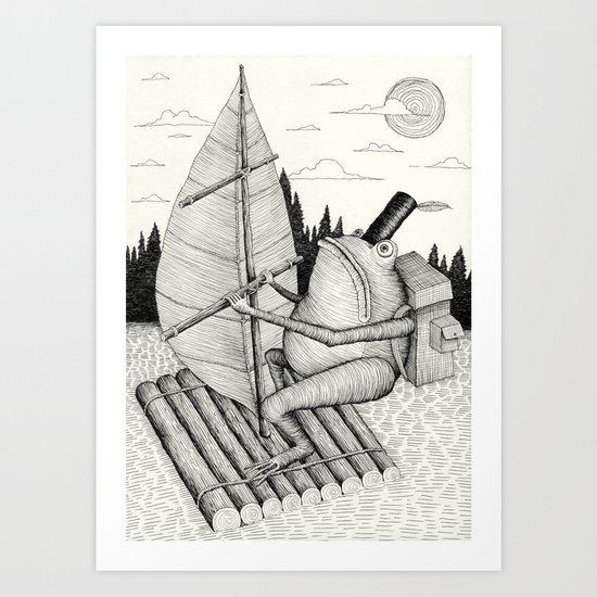 'Crossing the lake' Art Print
