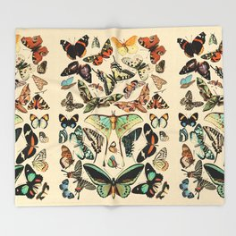 Papillon I Vintage French Butterfly Charts by Adolphe Millot Throw Blanket