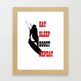 Eat Sleep Boost Repeat Kitebeach Framed Art Print