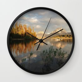 Sunrise on Jackson Lake, Grand Teton National Park Wall Clock