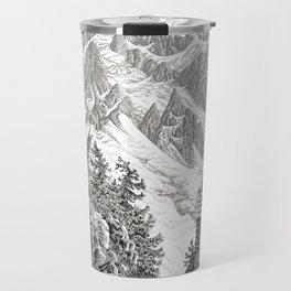 BEYOND MOUNT SHUKSAN BLACK AND WHITE VINTAGE PEN DRAWING Travel Mug