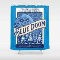 doom Shower Curtains featuring Blue Doom by Moysche Designs